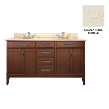 Avanity Madison 60 Inch Tobacco Vanity With Galala Beige Marble