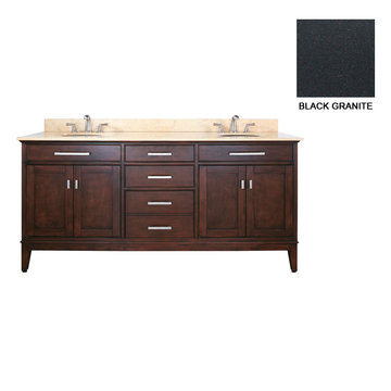 Avanity Madison 72 Inch Espresso Vanity With Black Granite