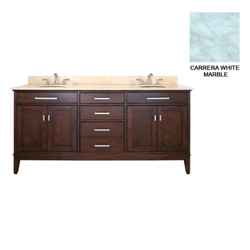 Avanity Madison 72 Inch Espresso Vanity With Carrera White Marble