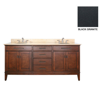 Avanity Madison 72 Inch Tobacco Vanity With Black Granite