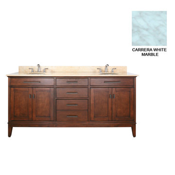 Avanity Madison 72 Inch Tobacco Vanity With Carrera White Marble