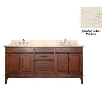 Avanity Madison 72 Inch Tobacco Vanity With Galala Beige Marble