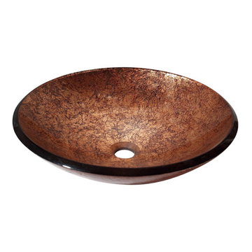 Avanity Metallic Copper Tempered Glass Vessel Sink
