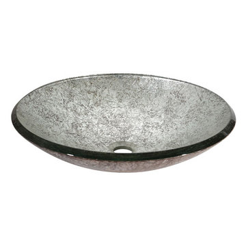 Avanity Metallic Silver Tempered Glass Vessel Sink