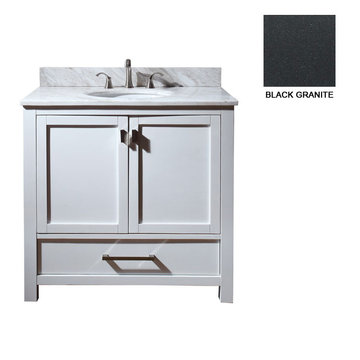 Avanity Modero 36 Inch White Vanity With Black Granite