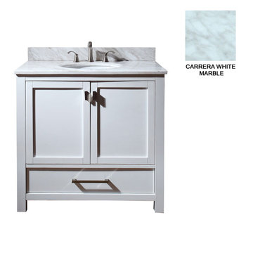 Avanity Modero 36 Inch White Vanity With Carrera White Marble