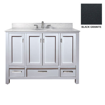 Avanity Modero 48 Inch White Vanity With Black Granite