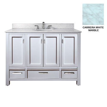 Avanity Modero 48 Inch White Vanity With Carrera White Marble