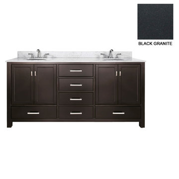 Avanity Modero 72 Inch Espresso Vanity With Black Granite