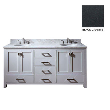 Avanity Modero 72 Inch White Vanity With Black Granite