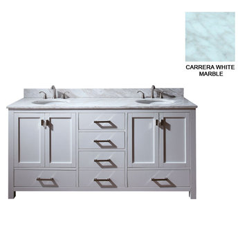 Avanity Modero 72 Inch White Vanity With Carrera White Marble