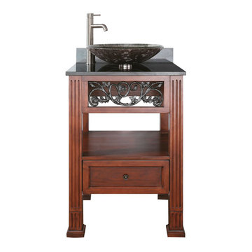 Avanity Napa 24 Inch Vanity With Black Granite Top For Vessel Sink