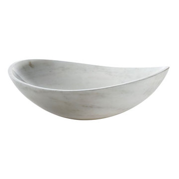 Avanity Oval White Marble Vessel Sink