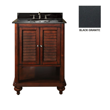 Avanity Tropica 24 Inch Antique Brown Vanity With Black Granite