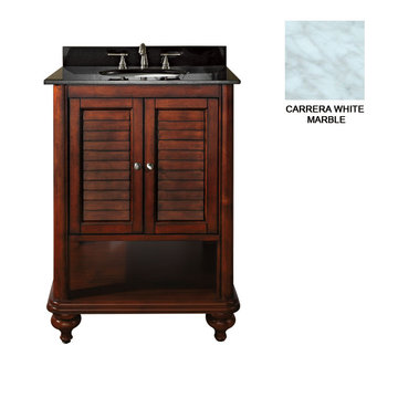 Avanity Tropica 24 Inch Antique Brown Vanity With Carrera White Marble
