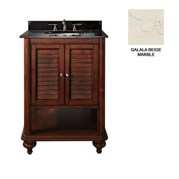 Avanity Tropica 24 Inch Antique Brown Vanity With Galala Beige Marble