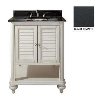 Avanity Tropica 24 Inch Antique White Vanity With Black Granite