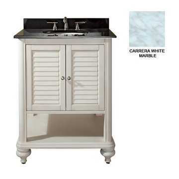 Avanity Tropica 24 Inch Antique White Vanity With Carrera White Marble