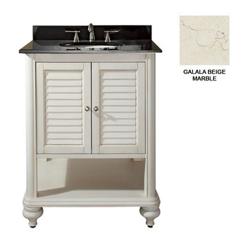 Avanity Tropica 24 Inch Antique White Vanity With Galala Beige Marble