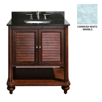 Avanity Tropica 30 Inch Antique Brown Vanity With Carrera White Marble