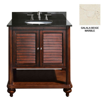 Avanity Tropica 30 Inch Antique Brown Vanity With Galala Beige Marble