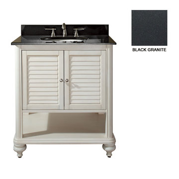 Avanity Tropica 30 Inch Antique White Vanity With Black Granite