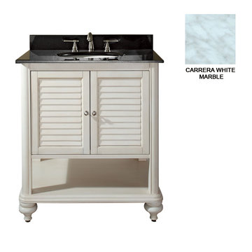 Avanity Tropica 30 Inch Antique White Vanity With Carrera White Marble