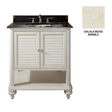 Avanity Tropica 30 Inch Antique White Vanity With Galala Beige Marble