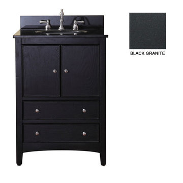 Avanity Westwood 24 Inch Black Vanity With Black Granite