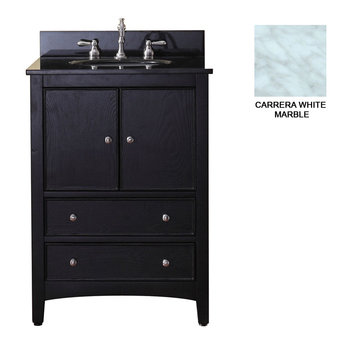Avanity Westwood 24 Inch Black Vanity With Carrera White Marble