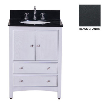 Avanity Westwood 24 Inch White Vanity With Black Granite