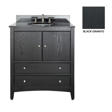 Avanity Westwood 30 Inch Black Vanity With Black Granite