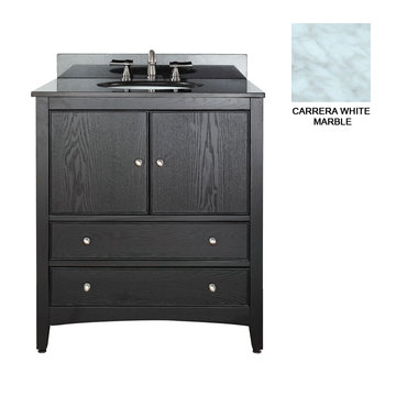 Avanity Westwood 30 Inch Black Vanity With Carrera White Marble