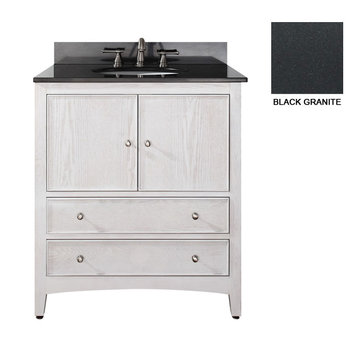 Avanity Westwood 30 Inch White Vanity With Black Granite