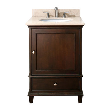 Avanity Windsor 24 Inch Walnut Vanity With Galala Beige Marble