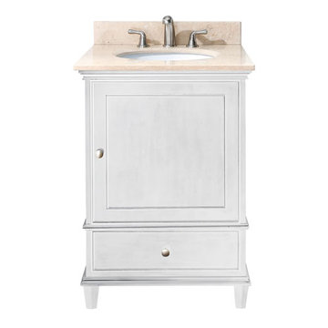 Avanity Windsor 24 Inch White Vanity With Galala Beige Marble