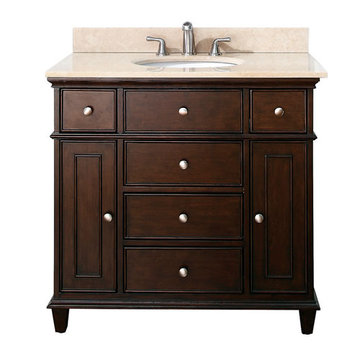 Avanity Windsor 36 Inch Walnut Vanity With Galala Beige Marble
