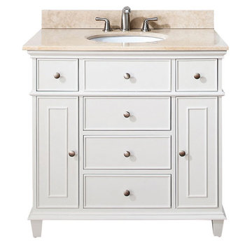 Avanity Windsor 36 Inch White Vanity With Galala Beige Marble