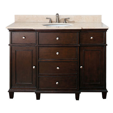 Avanity Windsor 48 Inch Walnut Vanity With Galala Beige Marble