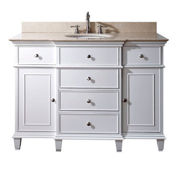 Avanity Windsor 48 Inch White Vanity With Galala Beige Marble