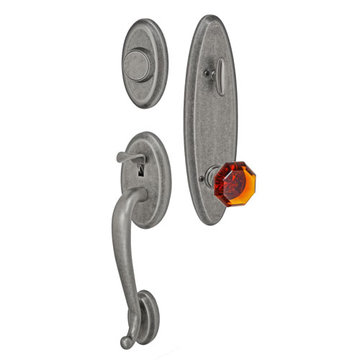 Fusion Elite Quincy One Piece Dummy Interior Thumblatch To Victorian Amber Glass Knob