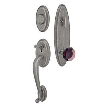 Fusion Elite Quincy One Piece Dummy Interior Thumblatch To Victorian Violet Glass Knob