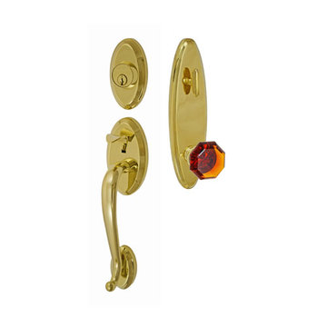 Fusion Elite Quincy One Piece Interior Thumblatch To Victorian Amber Glass Knob