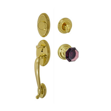 Fusion Elite Quincy Two Piece Dummy Interior Thumblatch To Victorian Violet Glass Knob