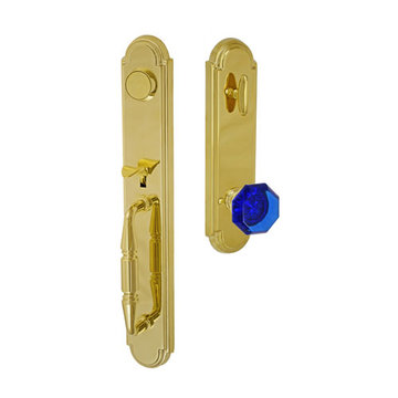 Fusion Elite Ravinia One Piece Dummy Interior Thumblatch To Victorian Cobalt Glass Knob