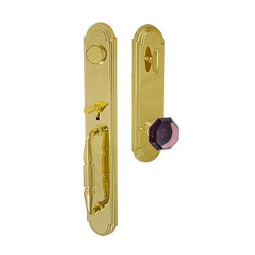 Fusion Elite Ravinia One Piece Dummy Interior Thumblatch To Victorian Violet Glass Knob
