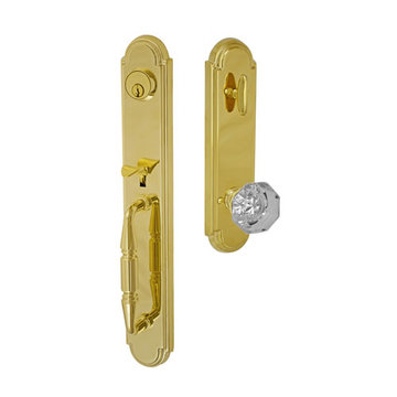 Fusion Elite Ravinia One Piece Interior Thumblatch To Victorian Clear Glass Knob