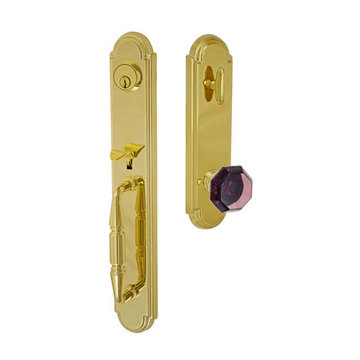 Fusion Elite Ravinia One Piece Interior Thumblatch To Victorian Violet Glass Knob