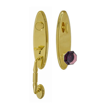Fusion Elite Renwood One Piece Dummy Interior Thumblatch To Victorian Violet Glass Knob