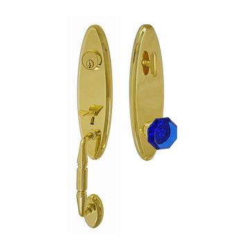 Fusion Elite Renwood One Piece Interior Thumblatch To Victorian Cobalt Glass Knob